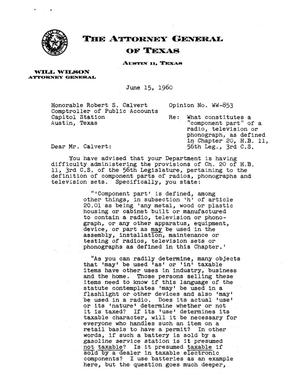 Primary view of object titled 'Texas Attorney General Opinion: WW-853'.