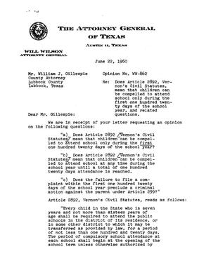Primary view of object titled 'Texas Attorney General Opinion: WW-862'.