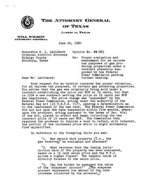 Primary view of object titled 'Texas Attorney General Opinion: WW-863'.