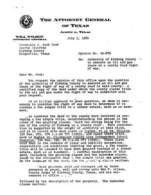 Primary view of object titled 'Texas Attorney General Opinion: WW-870'.