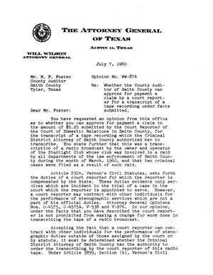 Primary view of object titled 'Texas Attorney General Opinion: WW-874'.