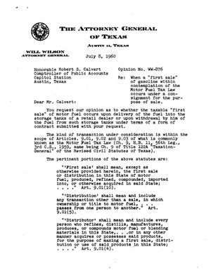 Primary view of object titled 'Texas Attorney General Opinion: WW-876'.