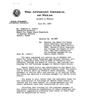 Primary view of object titled 'Texas Attorney General Opinion: WW-888'.