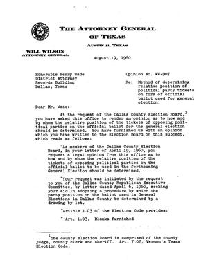 Primary view of object titled 'Texas Attorney General Opinion: WW-907'.