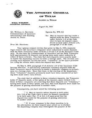 Primary view of object titled 'Texas Attorney General Opinion: WW-913'.