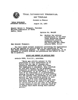 Primary view of object titled 'Texas Attorney General Opinion: WW-926'.