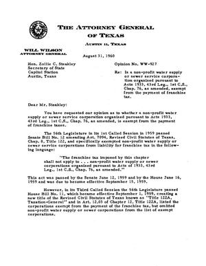 Primary view of object titled 'Texas Attorney General Opinion: WW-927'.