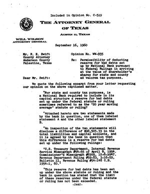Primary view of object titled 'Texas Attorney General Opinion: WW-935'.