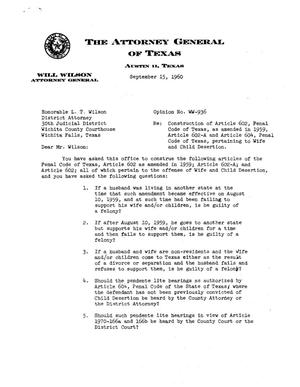 Primary view of object titled 'Texas Attorney General Opinion: WW-936'.