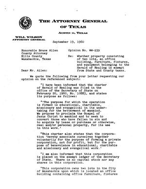 Primary view of object titled 'Texas Attorney General Opinion: WW-939'.
