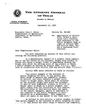 Primary view of object titled 'Texas Attorney General Opinion: WW-940'.