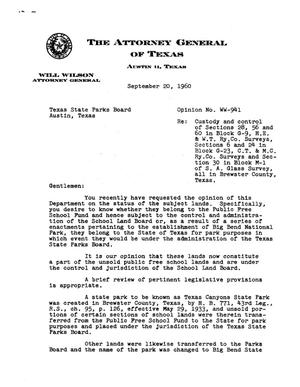 Primary view of object titled 'Texas Attorney General Opinion: WW-941'.