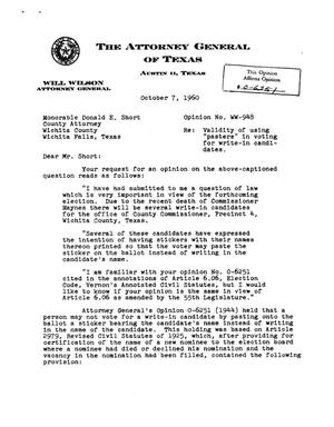 Primary view of object titled 'Texas Attorney General Opinion: WW-948'.