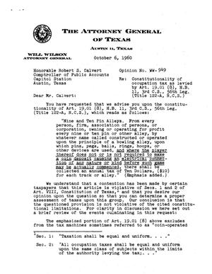 Primary view of object titled 'Texas Attorney General Opinion: WW-949'.