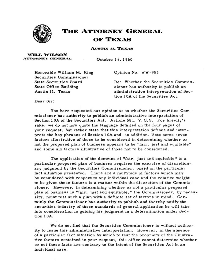 Primary View Of Object Titled Texas Attorney General Opinion WW 951
