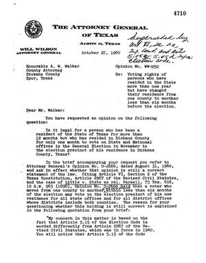 Primary view of object titled 'Texas Attorney General Opinion: WW-952'.