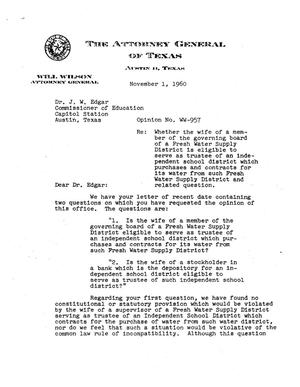 Primary view of object titled 'Texas Attorney General Opinion: WW-957'.