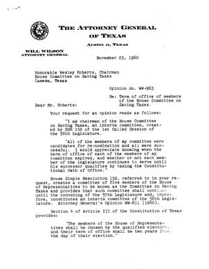 Primary view of object titled 'Texas Attorney General Opinion: WW-963'.