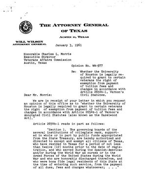Primary view of object titled 'Texas Attorney General Opinion: WW-977'.