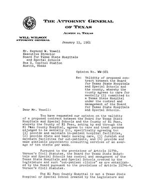 Primary view of object titled 'Texas Attorney General Opinion: WW-981'.