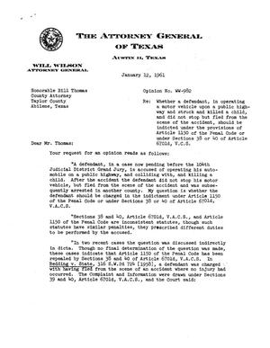 Primary view of object titled 'Texas Attorney General Opinion: WW-982'.