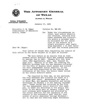 Primary view of object titled 'Texas Attorney General Opinion: WW-985'.