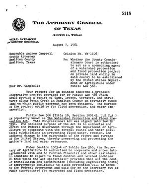 Primary view of object titled 'Texas Attorney General Opinion: WW-1106'.