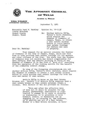 Primary view of object titled 'Texas Attorney General Opinion: WW-1136'.