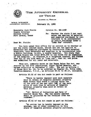Primary view of object titled 'Texas Attorney General Opinion: WW-1258'.
