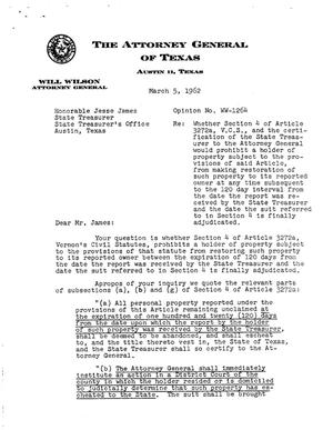 Primary view of object titled 'Texas Attorney General Opinion: WW-1264'.