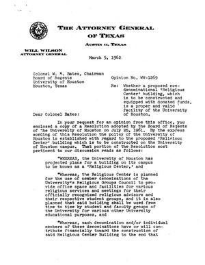 Primary view of object titled 'Texas Attorney General Opinion: WW-1269'.