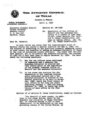 Primary view of object titled 'Texas Attorney General Opinion: WW-1292'.