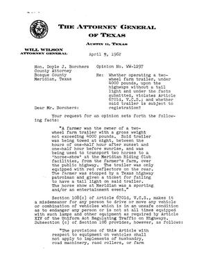Primary view of object titled 'Texas Attorney General Opinion: WW-1297'.