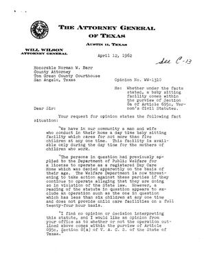 Primary view of object titled 'Texas Attorney General Opinion: WW-1310'.
