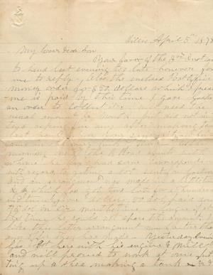 Primary view of object titled 'Letter to Cromwell Anson Jones, 5 April 1878'.