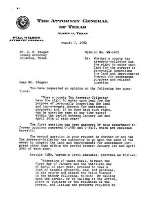 Primary view of object titled 'Texas Attorney General Opinion: WW-1407'.