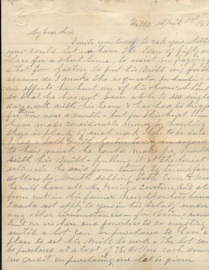 Primary view of object titled 'Letter to Cromwell Anson Jones, 1 April 1878'.