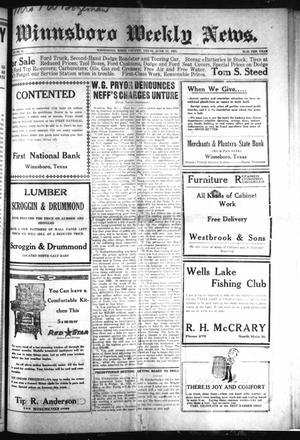 Primary view of object titled 'Winnsboro Weekly News (Winnsboro, Tex.), Vol. 12, No. 42, Ed. 1 Friday, June 17, 1921'.