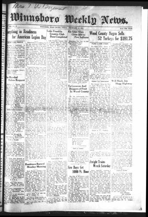 Winnsboro Weekly News (Winnsboro, Tex.), Vol. 13, No. 16, Ed. 1 Friday, December 16, 1921
