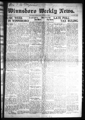Primary view of object titled 'Winnsboro Weekly News (Winnsboro, Tex.), Vol. 13, No. 19, Ed. 1 Friday, January 13, 1922'.