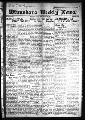 Primary view of object titled 'Winnsboro Weekly News (Winnsboro, Tex.), Vol. 13, No. 20, Ed. 1 Friday, January 20, 1922'.