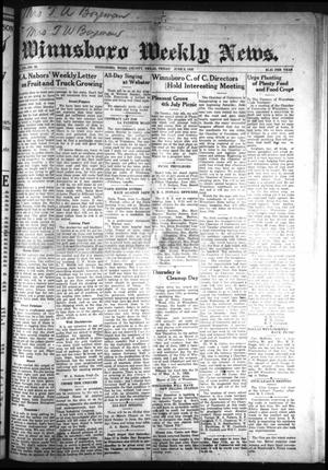 Primary view of object titled 'Winnsboro Weekly News (Winnsboro, Tex.), Vol. 13, No. 39, Ed. 1 Friday, June 9, 1922'.