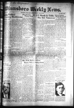 Primary view of object titled 'Winnsboro Weekly News (Winnsboro, Tex.), Vol. 13, No. 40, Ed. 1 Friday, June 16, 1922'.