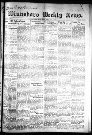 Primary view of object titled 'Winnsboro Weekly News (Winnsboro, Tex.), Vol. 13, No. 52, Ed. 1 Friday, September 8, 1922'.