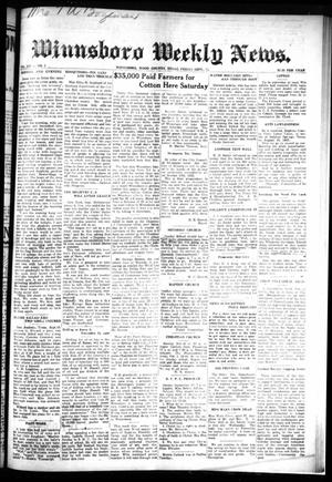 Primary view of object titled 'Winnsboro Weekly News (Winnsboro, Tex.), Vol. 14, No. 1, Ed. 1 Friday, September 15, 1922'.