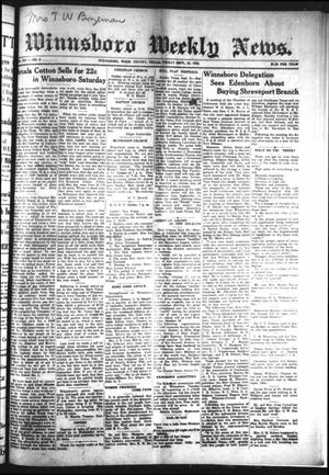 Winnsboro Weekly News (Winnsboro, Tex.), Vol. 14, No. 2, Ed. 1 Friday, September 22, 1922