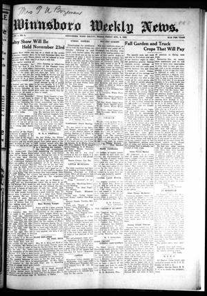 Primary view of object titled 'Winnsboro Weekly News (Winnsboro, Tex.), Vol. 14, No. 4, Ed. 1 Friday, October 6, 1922'.