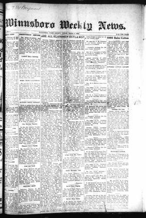 Primary view of object titled 'Winnsboro Weekly News (Winnsboro, Tex.), Vol. 15, No. 2, Ed. 1 Thursday, October 4, 1923'.