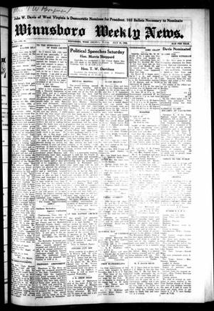 Primary view of object titled 'Winnsboro Weekly News (Winnsboro, Tex.), Vol. 14, No. 41, Ed. 1 Thursday, July 10, 1924'.