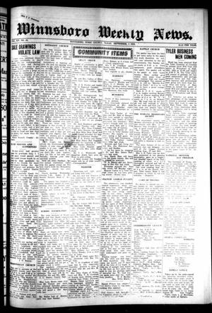 Primary view of object titled 'Winnsboro Weekly News (Winnsboro, Tex.), Vol. 14, No. 49, Ed. 1 Thursday, September 4, 1924'.